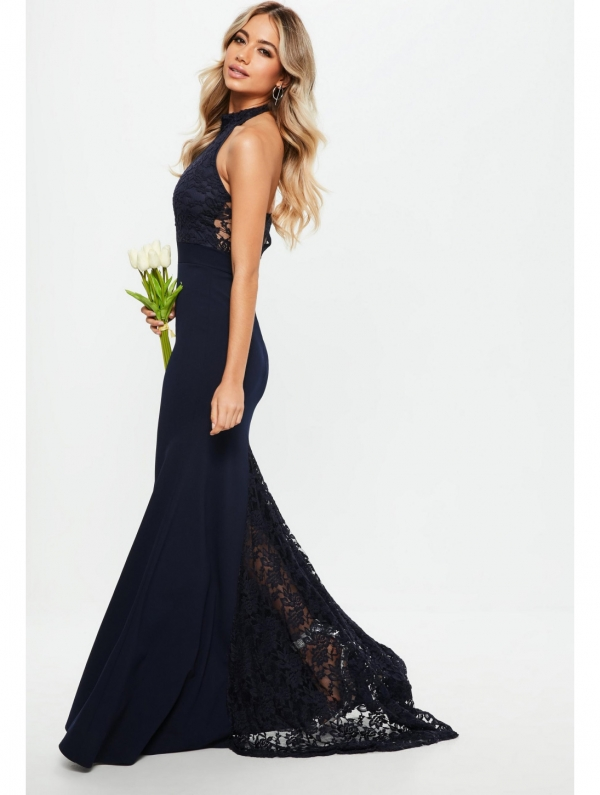 Vestido Noche Encaje Antria Azul Oscuro Vestidos