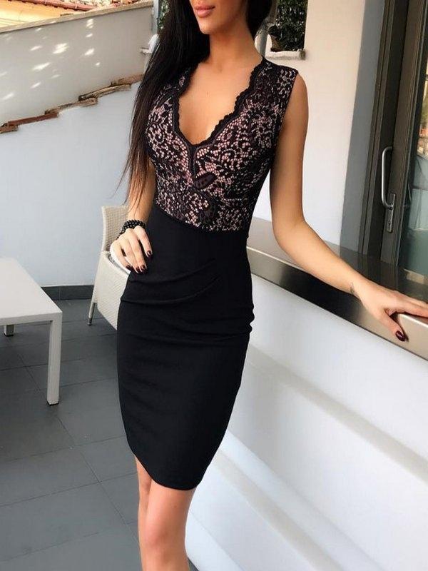 Vestido Corto Encaje Arriba Kellee Negro Vestidos De